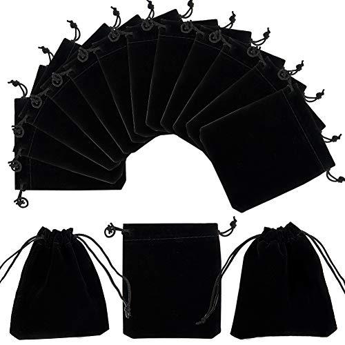 Pandahall elite 50pz rettangolo velluto con cordoncino sacchetti regalo gioielli, monete astucci, 12x 10cm, nero