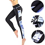 Leggings Damen, ABsoar Damen Leggings Laufhose Gym Yoga Hosen Fitness Elastische Leggings Sporthosen (XL, Schwarz B)