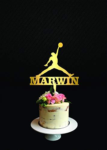 (Michael Jordan Tortenaufsatz für Kuchen, Kuchendekoration, Motiv: Basketballspieler, Michael Jordan Silhouette)