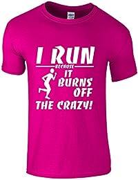 I Run because it burns off the crazy!- Novelty Mens Running T-Shirt