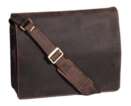 Herren Echtes Leder Messenger Tasche Braun Vintage Distressed Umhängetasche LAS VEGAS 36x27x12 cm (Leder Messenger Distressed)