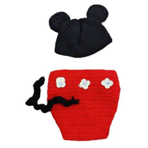 SODIAL (R) Ninos bebe del traje de punto de ganchillo gorrita tejida Flores Animal Gorra apoyo de la foto - Mickey negro y rojo