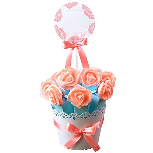Toyvian 10 STÜCKE DIY Hochzeit Gefälligkeiten Süßigkeitskästen mit Band und Blume für Engagement Einschließlich Papier Blumentopf für Hochzeit Geschenke Decor (Rosa + Blau)