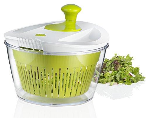 Große Salatschleuder mit 5.0Quart Schüssel, Plus Extra Stauraum Deckel für Komfort–Salat Waschmaschine, Trockner und Keeper–und Dressing Shaker Flasche
