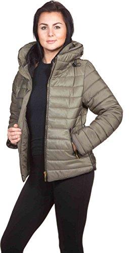 Loomiloo - Giacca invernale da donna con cappuccio, trapuntata, collo alto,foderata, collezione inverno 2016 cachi