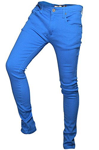 Soulstar MP Deo Homme Design coloré Jeans Coupe Skinny Turquoise -Light Blue