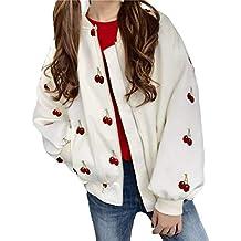 BOLAWOO Manteau Femme Elégante Festives Vintage Confortable Baseball Mode  Chic Jacket Manches Longues Automne Printemps Cerise f1f0c4d1eba5