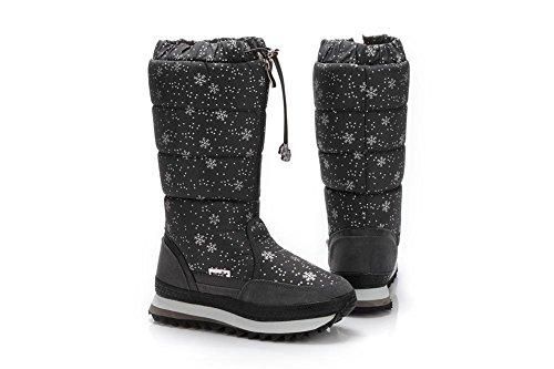 Donna alto neve stivali Thicker Plus Cashmere piatto nero bianco cadere inverno all'aperto Gray