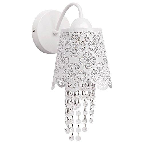 Applique pittura bianco delicato con pattern gocce cristallo trasparente in stile barocco classico 1-bulb E14 (Art Deco Di Cristallo)