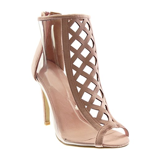 Angkorly - Damen Schuhe Stiefeletten - Stiletto - Peep-Toe - schick - transparent - gekreuzte Riemen Stiletto high Heel 10.5 cm - Rosa 238-3 T 38