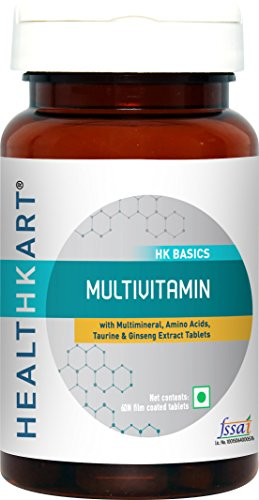 HealthKart Multivitamin with Ginseng Extract, Taurine and Multiminerals-60 Vegetarian Tablets