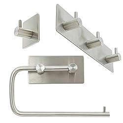 TRIXES Toilettenpapierrollenhalter und 2 Handtuchhaken für das Badezimmer - Selbstklebende Wandmontage ohne Bohrer - Edelstahlzubehör - Toilettenrolle - Perfekt für Dusche, Garderobe, Küche