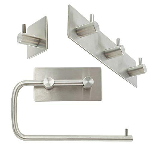 TRIXES Toilet Paper Roll Holder y 2 Ganchos de Toalla para el baño - Autoadhesivo Pared montado sin...