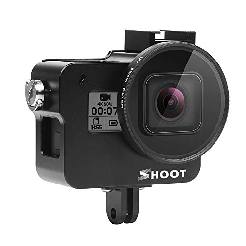 SHOOT Aluminium Legierung Skelett schützende Gehäuse Case mit 52mm UV Filter für GoPro Hero 7 Black/Hero 6/ Hero 5 Action Kamera