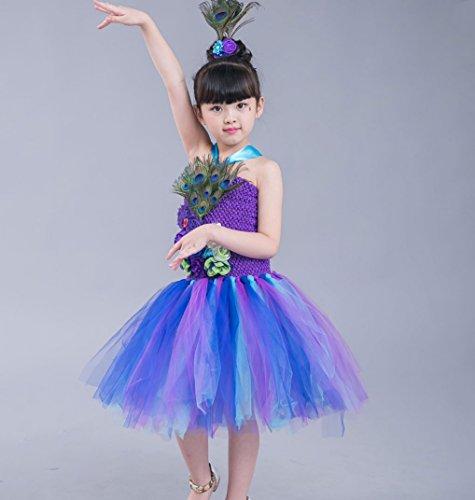 HUOFEINIAO Durchführung Mode Schwalbenschwanz Kleider Kinder Jazz Dance Kostüme Modell Laufsteg Tutu Röcke Vorschule Prinzessin Garn Röcke,Purple,100 (Tutu Personalisierte)