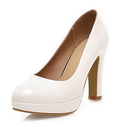 VogueZone009 Femme à Talon Haut Verni Couleur Unie Tire Rond Chaussures Légeres Blanc