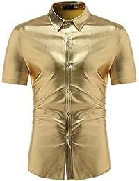 S-XL , Yogogo T-Shirt Herren Sommer Premium Kurzarm Shirt V-Ausschnitt T- Shirt Sport Muskelshirt Crop Tops Oberteile Streifen Basic Tops T-Shirt… f2b0a6ed68