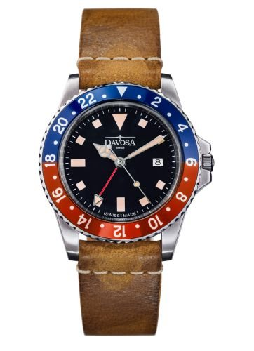 Davosa Quartz Swiss Vintage Diver Pepsi Leather Strap Watch 16250095