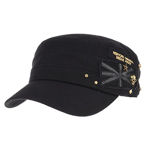 WITHMOONS Baseballmütze Army Cadet Cap Skull Star Studs Union Jack Cotton Hat CR4374 (Black)