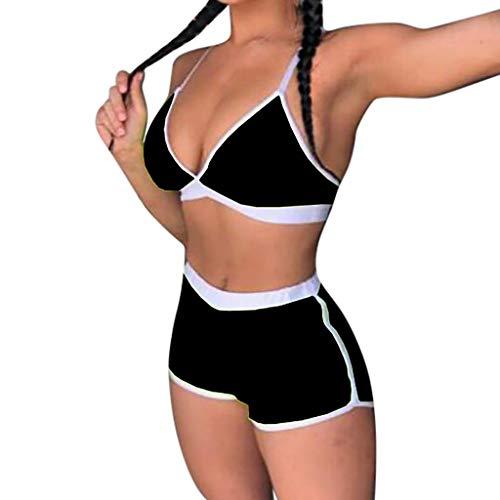 TUDUZ Damen Sportliches Bikini Set Bademode mit Push Up Oberteil und Hotpants Zweiteilige Badeanzug V-Ausschnitt Tankini(Small,Schwarz) (Schwimmen Korsett Oben)