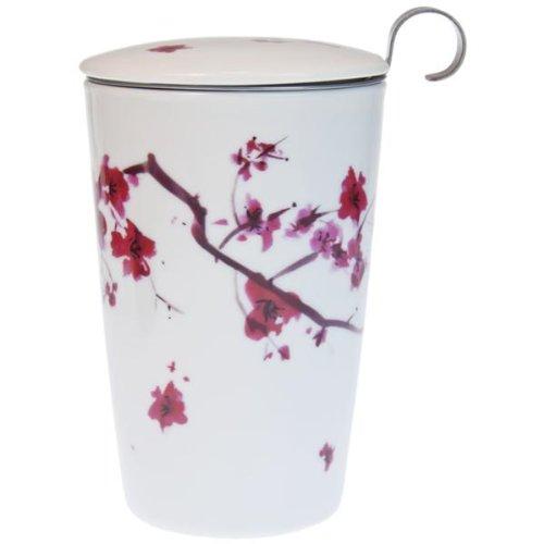Tisanière Cherry Kyoto porcelaine double paroi 25cl avec filtre Tisanière en porcelaine