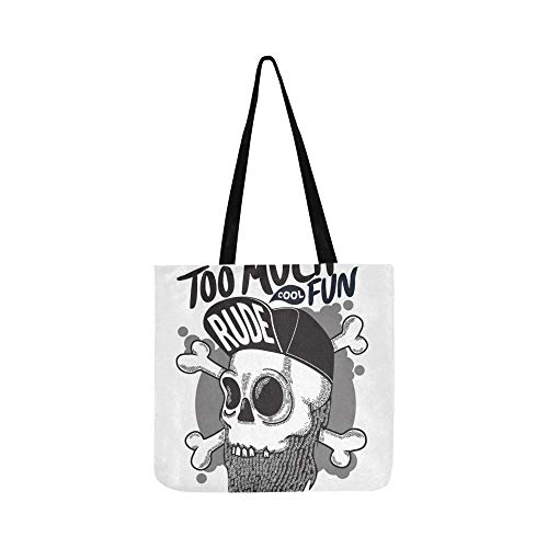 Junge Leute Hip-Hop Coole Schädel Leinwand Tote Handtasche Schultertasche Crossbody Taschen Geldbörsen für Männer und Frauen Einkaufstasche