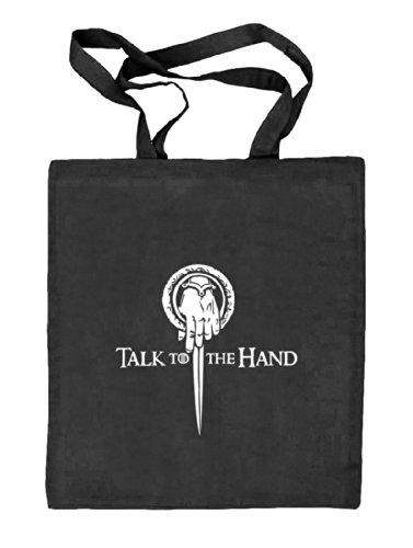 Shirtstreet24, Talk To The Hand, Natur Stoffbeutel Jute Tasche (ONE SIZE), Größe: onesize,schwarz natur -