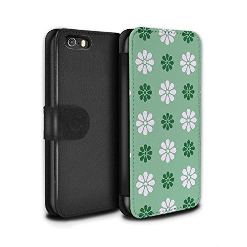 Stuff4 Coque/Etui/Housse Cuir PU Case/Cover pour Apple iPhone SE / Rose Design / Motif avec pétales Collection Vert