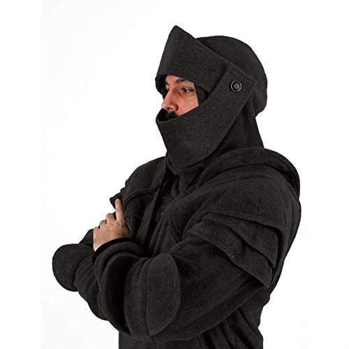 LASPERAL Herren Knight Armor Hoodie Mittelalter Sweatshirt Kapuzenjacke Mantel Kostüm Winter Vintage Rider Kapuzen Rüstung