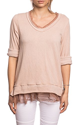 Italienische Damen Langarm (Abbino 8213-6 Shirt Top - Made in Italy - 8 Farben - Übergang Frühling Sommer Komfortabel Basic Shirt Unifarbe Lässig Langarm Sale Freizeit Süße Baumwolle Elegant Fashion Modern - Rosa)