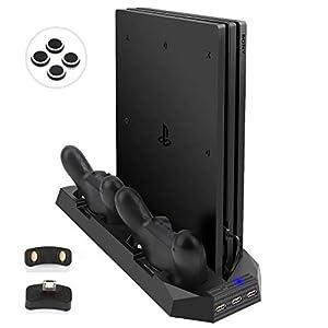 LIDIWEE Verbesserte PS4 Pro Standfuß Vertikal Stand mit Kühler Lüfter & USB Hub, PlayStation 4 Pro Controller Ladestation Aufladestation, Ladegerät für DualShock 4 Controller, Schwarz