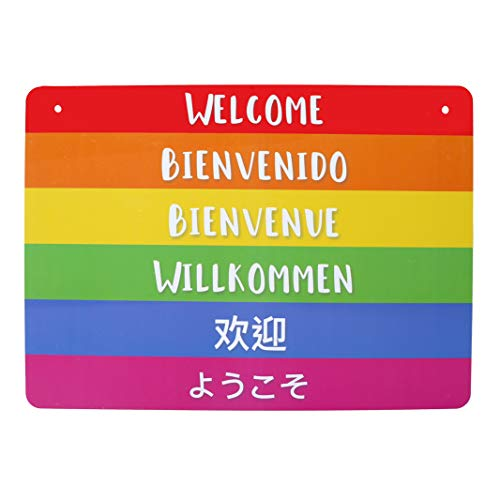 4abaf7f03968 Gay Friendly Welcome Sign (Double Sided) - Lightweight & Waterproof Store  Sign - Decorative International Welcome Sign for Business (8.25