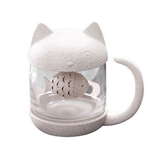 Berrose-Niedlich Katze Kleiner AFFE Glas Filtertasse Mit herausnehmbarem Bubble Extractor-Teekanne High Heat Glass