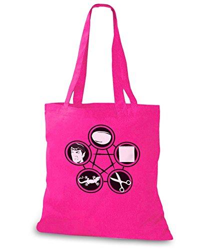 StyloBags Jutebeutel / Tasche Stein Schere Papier Echse Spock v2 Pink