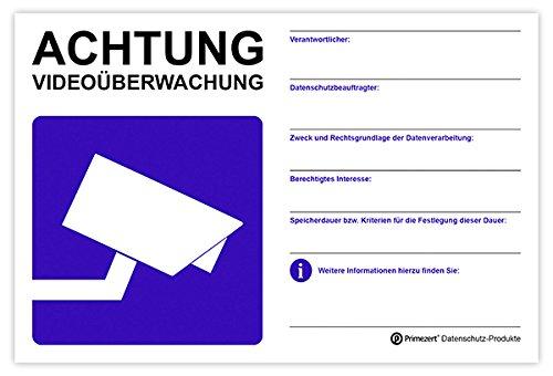DSGVO+BDSG Datenschutz-Schild Info-Aushang Video-Überwachung 20x30cm