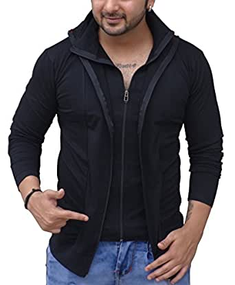 Black Collection Men's Plain Slim Fit T-Shirt (BCSA0002_Black_Full_M)