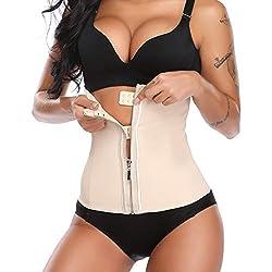MISS MOLY Corset Minceur Femme Amincissante Gaine Ventre Plat Serre Taille Waist Shaper Training Ceinture Bustier Zip en Latex S-6XL