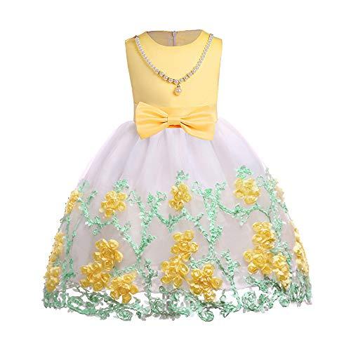 Bestickte Satin-robe (Goyajun Mädchen Kleider Mit Blumen Besticktes Mesh Ärmellos Baby Ball Robe Zeremonie Prinzessin Kleidung)