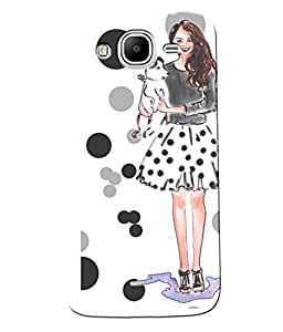 Fuson Girl with black white pattern circles Back Case Cover for SAMSUNG GALAXY MEGA 5.8 - D3783