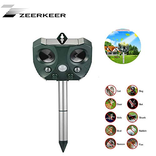 Zeerkeer Waterproof LED Ultrasonic Animal and Pest Repeller Ultrasonic Mosquito Repellent Solar Charging Environmentally Friendly Easy to Install for Dogs/Birds/Mice/Squirrels Etc