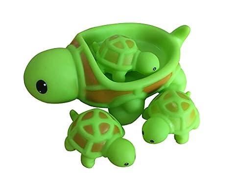 Mxixi Sommer niedlich Baby Mädchen Junge Kind schwimmende Bad Spielzeug Kleinkind Badewanne Freunde klassische Spielzeug Gummi-Rennen quietschende Tiere Familie gesetzt (Schildkröten)