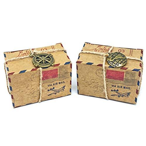 Wedding touches rustico airmail inspiried vintage shabbychic scatole regali di nozze con decorazione in metallo, cartoncino, beige, 6cm x 4cm x 3.5cm