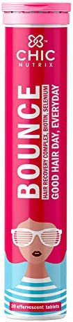 Chicnutrix Bounce   Biotin Tablets for Hair Growth   20 Effervescent tablets   Raspberry Flavor (Pack Of 1)