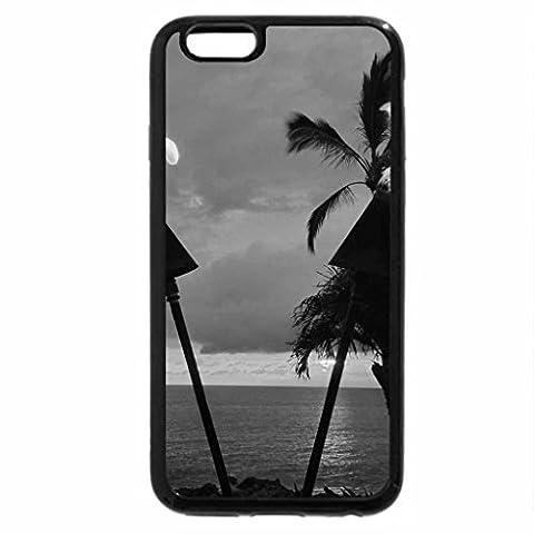 iPhone 6S Plus Coque, iPhone 6Plus Coque (Noir et Blanc)–Hawaïen Torches Tiki Soirée Crépuscule Temps à Waimea Maui Hawaii