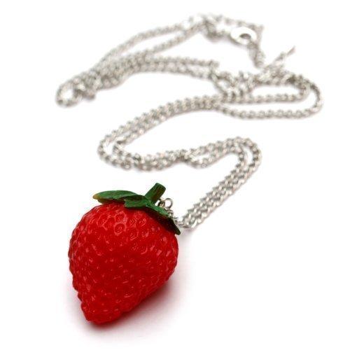 Preisvergleich Produktbild Erdbeeren Halskette - ca. 70cm lange Kette - Obst Anhänger Erdbeere Erdbeerkette