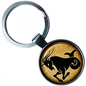 Zodiac Capricorn Tierkreis Steinbock Silver Keychain Silber Schlüsselanhänger