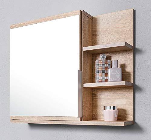DOMTECH Badezimmer Spiegelschrank mit Ablagen und LED Beleuchtung, Badezimmerspiegel, Eiche Sonoma Spiegelschrank, R