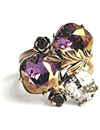 Nine Vice - Statement Ring in Swarovski crystals from the Autumn Collection (Purple, Metallic, Brown colours)