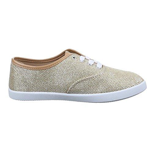 Damen Schuhe, C20-1, FREIZEITSCHUHE SNEAKERS MIT SCHNÜRUNG Gold