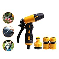‏‪Gluckluz Garden Hose Spray Nozzle Water Sprayer Gun Garden Sprinkler Car Wash Supplies All-copper Water Gun Metal Water Nozzle Copper High-pressure Car Wash Home Gardening Water Gun Set (Yellow)‬‏